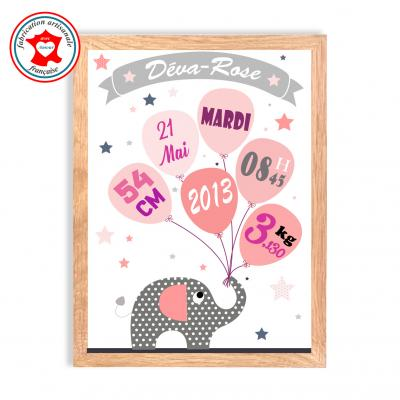 Tableau naissance fille, thème éléphant, tableau à personnaliser, cadeau de naissance, décoration chambre fille rose et gris