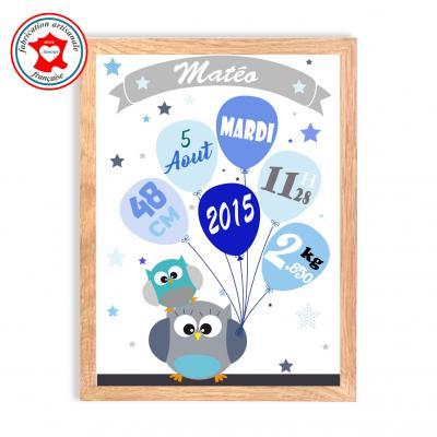 Tableau naissance garçon, thème hiboux, tableau à personnaliser, cadeau de naissance, décoration chambre garçon bleu