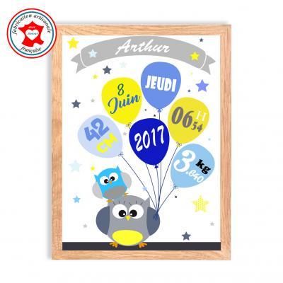 Tableau naissance garçon, thème hiboux, tableau à personnaliser, cadeau de naissance, décoration chambre garçon bleu et jaune