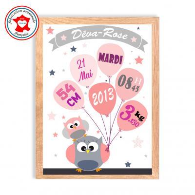 Tableau naissance fille, thème hiboux, tableau à personnaliser, cadeau de naissance, décoration chambre fille rose et gris