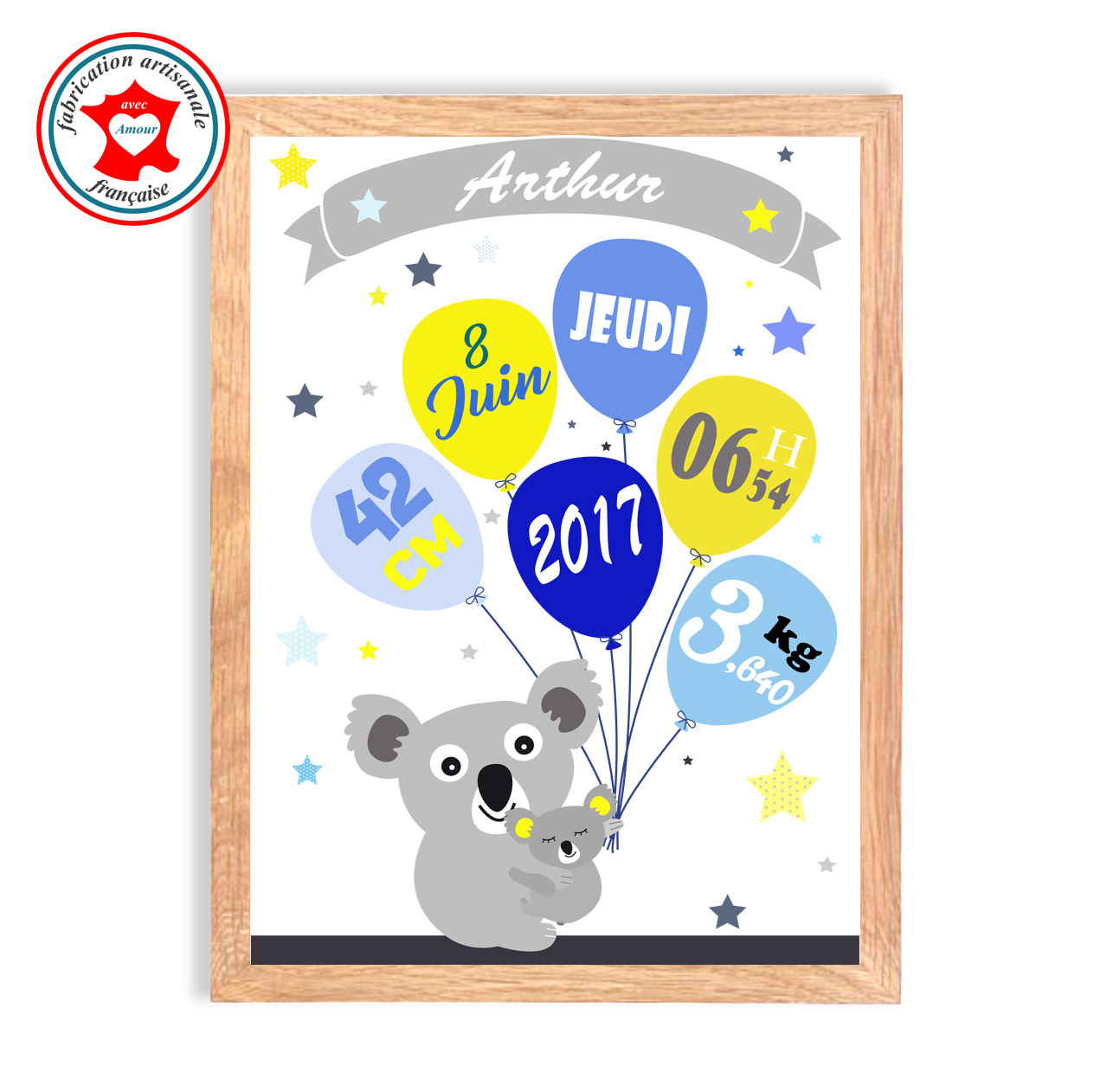Naissance koala bleu jaune