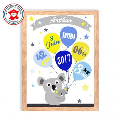 Tableau naissance garçon, thème koala, tableau à personnaliser, cadeau de naissance, décoration chambre garçon bleu et jaune