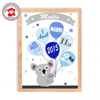 Tableau naissance garçon, thème koala, tableau à personnaliser, cadeau de naissance, décoration chambre garçon bleu
