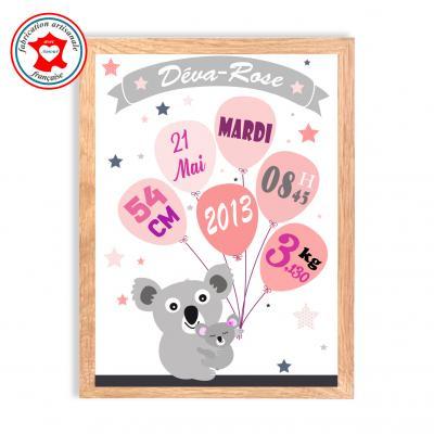 Tableau naissance fille, thème koala, tableau à personnaliser, cadeau de naissance, décoration chambre fille rose et gris