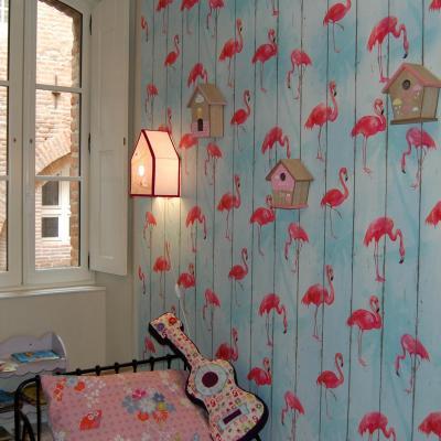"""Applique murale """" Nichoir à oiseaux"""" Rose"""