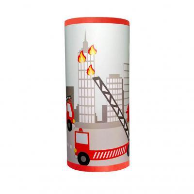 Lampe de chevet garçon, motif pompier, tons rouge et gris.