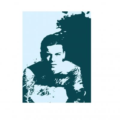 Tableau portait, pop art, style Andy Warhol, bicolore.