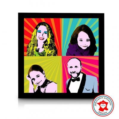 Tableau portait de famille, pop art, style Andy Warhol.