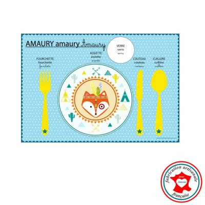 Set de table pédagogique, set de table enfant, thème renard indien, tons bleu, jaune, orange.