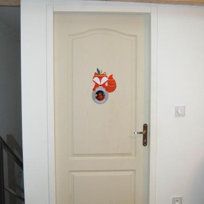Plaque de porte pour chambre enfant, thème renard indien, avec photo à insérer