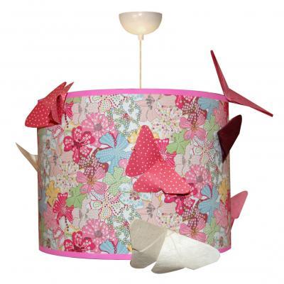 Suspension motif petites fleurs roses et papillons en origami