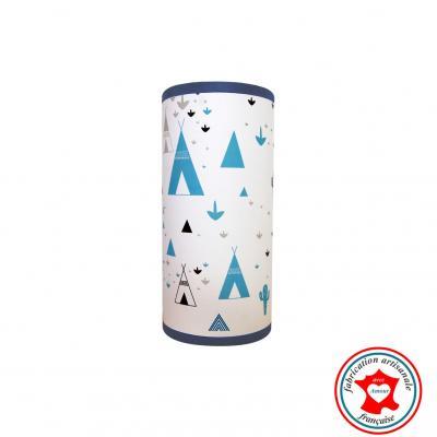 Lampe de chevet tube, thème tipi, indien, cactus, tons bleu et gris