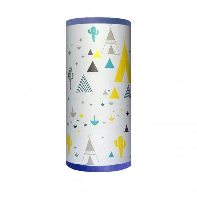 Lampe de chevet enfant, motif tipi cactus, tons bleu et jaune.