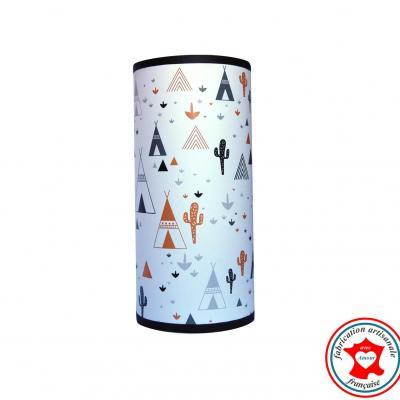 Lampe de chevet tube, motif tipi cactus, tons noir, caramel et gris