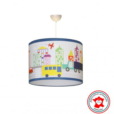 Abat-jour enfant, suspension garçon, luminaire garçon, thème ville et voiture, city, couleur bleu, rouge